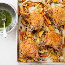 One-Pan Pork Chops and Roasted Vegetables