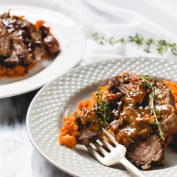 One-Pot Braised Beef Roast with Carrot Mash and Olives {AIP, Paleo}