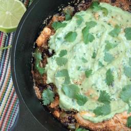 One-Pot Chicken Quinoa Enchilada Skillet with Avocado Cream