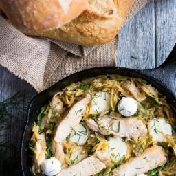 One-Pot Italian Orzo Chicken with Mozzarella, Arugula, and Fennel