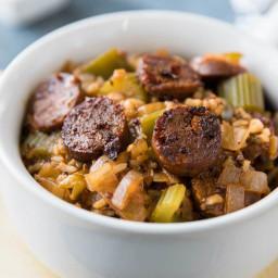 One Pot Jambalaya with Brown Rice and Quinoa