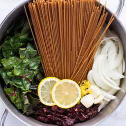 One Pot Lemon Pasta with Greens and Sundried Tomatoes
