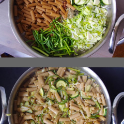 One Pot Pasta with Zucchini, Garlic Scapes, and Leeks in a White Wine Lemon