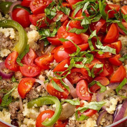 One-Pot Pizza Quinoa with Sausage, Onion and Pepper