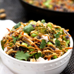 One Pot Thai Quinoa Bowl with Chicken and Spicy Peanut Sauce