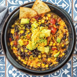 One-Pot Tortilla Soup with Black Beans, Corn, Bell Pepper, and Avocado