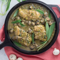 One Pot Whole30 Creamy Mushroom and Sage Chicken