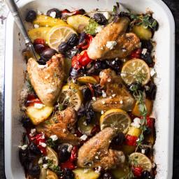 One Sheet Pan Greek Style Easy Baked Chicken Dinner Recipe