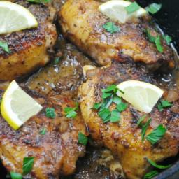 One Skillet Chicken with Garlic Lemon Cream Sauce