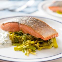 One-Skillet Salmon With Curried Leeks and Yogurt-Herb Sauce Recipe