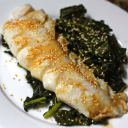 One-Skillet Cod and Kale With Ginger and Garlic