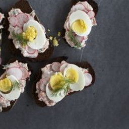 Open-Faced Sandwich with Dilly Trout Pate, Radish + Warm Hard-Boiled Egg