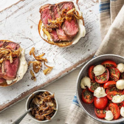 Open-Faced Steak Sandwich with Caramelized Onion and Tomato Caprese Salad
