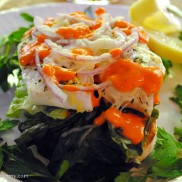Open Faced Cod Sandwiches with Red Bell Pepper Sauce