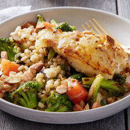 Orange and Mirin-Glazed Codwith Warm Barley and Broccoli Salad