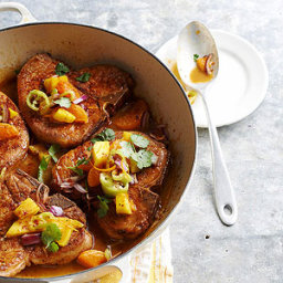 Orange-Simmered Pork Chops with Mango Relish