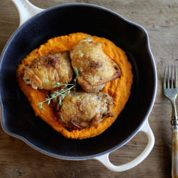 Orange-Thyme Chicken Thighs with Carrot Puree