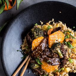 Orange Teriyaki Beef with Pineapple Edamame Fried Rice