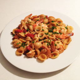 Orecchiette Pasta with Shrimp and Sun dried tomatoes