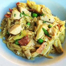 Orzo Marsala Risotto with Chicken, Bacon, Artichokes and Peas