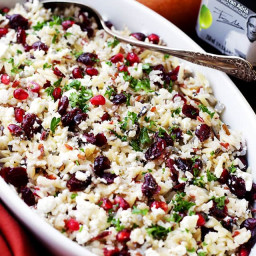 Orzo Pasta Salad with Feta Cheese and Cranberry Pomegranate Vinaigrette Rec