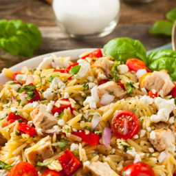 Orzo Salad with Feta, Olives and Bell Peppers