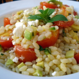 Orzo with Citrus Cooked Veggies, Avocado and Feta