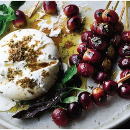 Ottolenghi's Burrata with Grilled Grapes and amp; Basil