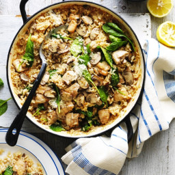Oven-Baked Chicken and Mushroom Risotto