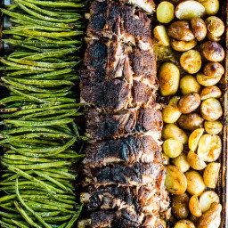 Oven Baked Ribs with Potatoes and Green Beans