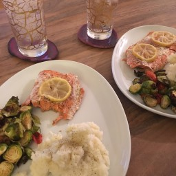 Oven Baked Salmon + Brussel Sprouts