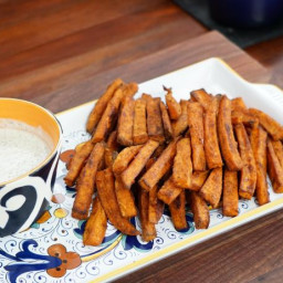 Oven-Baked Sweet Potato Fries with Homemade Ranch Dressing