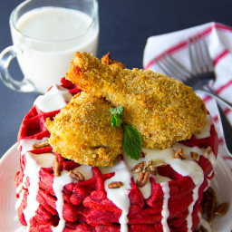 Oven Fried Chicken and Red Velvet Waffles