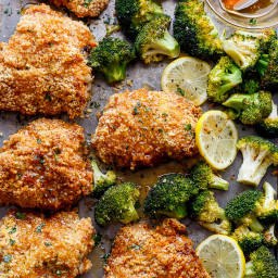 Oven Fried Chicken + Broccoli with Honey Garlic Sauce