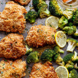 Oven Fried Chicken with Broccoli & Honey Garlic Sauce