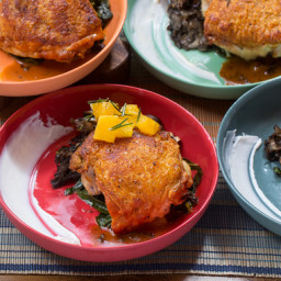 Oven-Roasted Chicken and Mixed Mushroomswith Crispy Rosemary-Orange Salad a