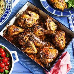 Oven-roasted chicken with sumac, pomegranate molasses, chilli and sesame se