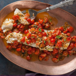 Oven roasted cod with tomato basil sauce