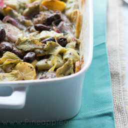 Oven Roasted Lemon Chicken Thighs with Artichokes and Kalamata Olives