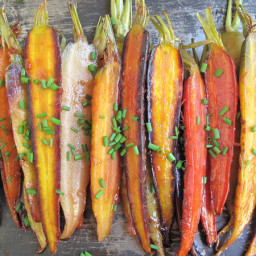 Oven Roasted Rainbow Carrots with Orange Glaze