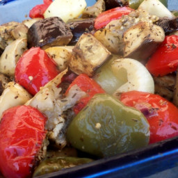 Oven Roasted Red Bell Pepper and Eggplant