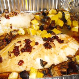 Oven Roasted Snapper with Eggplant and Summer Squash Cubes