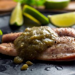Oven-Steamed Cod or Mahi Mahi in Green Tomatillo Salsa