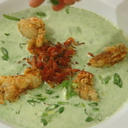 Oyster Rockefeller Soup garnished with Crispy Bacon and Fried Oysters
