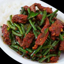 Pad Prik King Thai Red Curry Stir-fried Green Beans