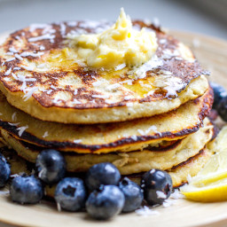 Paleo Banana Pancakes With Lemony Butter & Blueberries