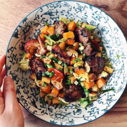 paleo Caramelized Pork Hash With Brussels Sprouts And Sweet Potato