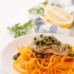Paleo Chicken Piccata with Butternut Squash Noodles