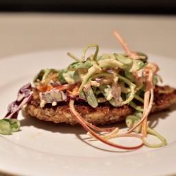 Paleo chicken schnitzel and slaw