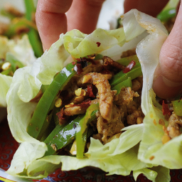 Paleo Chinese Spicy Pepper Pork Lettuce Wraps